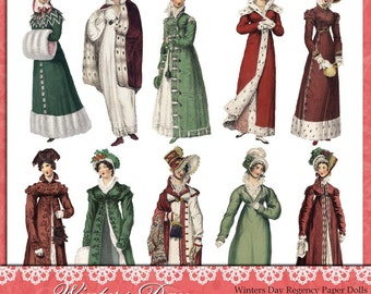 Winters Day Regency Paper Dolls, 300 dpi PNG files - Collage Sheet
