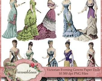 Victorian Evening Gown Paper Dolls - PNG Files - Collage Sheet