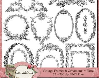 Vintage Frames and Ornaments - Floral PNG Files, Collage Sheet