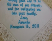 Bride to future mother-in-law Custom Embroidered Wedding Handkerchief Mother of the Groom Gift Envelope Included