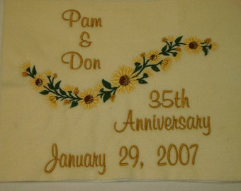 Embroidered Wedding Throw Blanket Afghan Personalized Wedding gift Anniversary Gift White Natural Cream