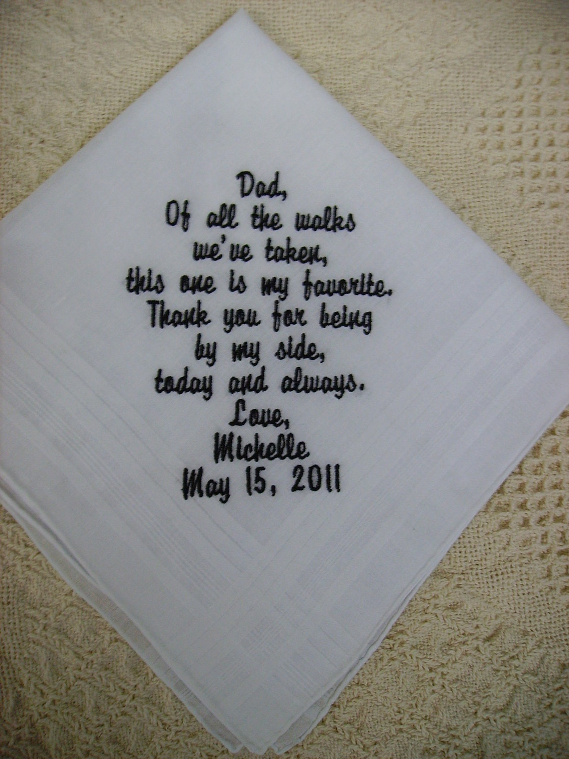 Gift For Dad On Wedding Day Handkerchief : Father of the Bride Handkerchief/Hankie Wedding Customized by