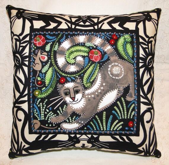 Tabby Cat in the Garden Beaded Pillow