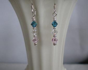 SAMI--Delicate Swarovski Earrings in Pink, Blue & Crystal