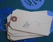 Bon Voyage -- set of 5 silver paper plane gift tags