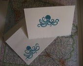Land lovars beware --- darling turquoise octopus cards - set of 5