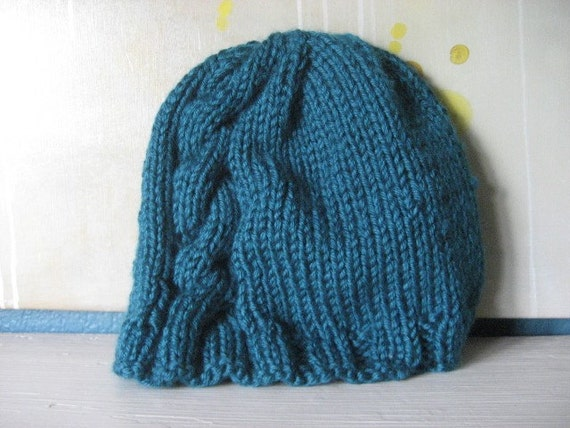 Cable for 1 -- teal knit beanie with single cable