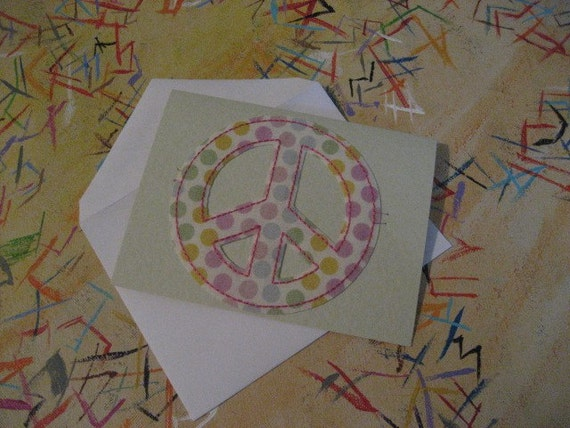Peace - Polka dot peace sign baby card that is also an iron on patch