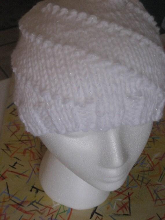 Winter wonderland white sparkly beanie -- swirly knit hat