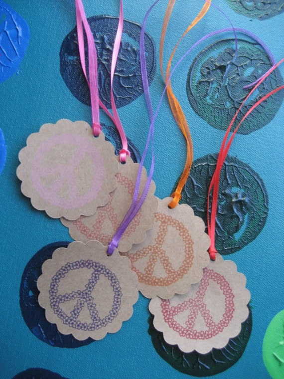 Scalloped PEACE gift tags- set of 5 hand stamped multi colored PEACE gift tags