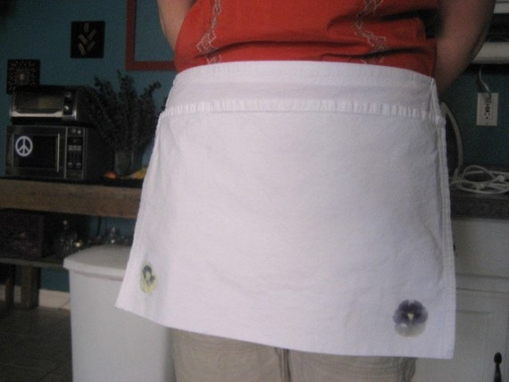 Pansy apron - handpressed 1/2 apron with real pansies