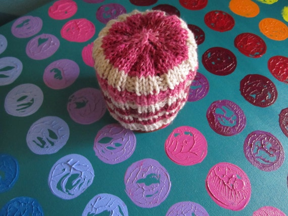 candy cane - pink and natural striped hat for your little lady