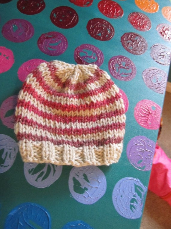 Candy Stiper -- Pink and beige striped hand knit hat perfect for teens