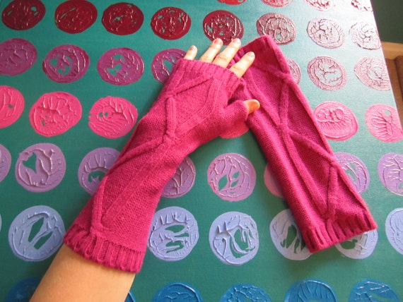 Pink Panther -- Hot Pink fingerless mittens - cable knit
