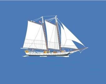 Schooner sails the Ocean Blue-Set of 8 Note cards