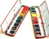 Dueling Pots of Paint - Vintage Children's Watercolors