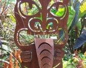 Tiki statue, metal tiki, outdoor tiki, metal garden art, metal yard art, tiki sculpture