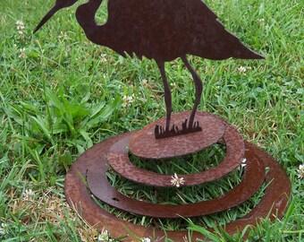 Metal Heron Wind Dancer, metal garden art, metal heron sculpture, metal outdoor heron, metal yard art