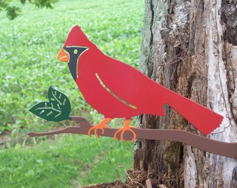 Metal Cardinal,cardinal yard art, metal garden art, metal bird, outdoor metal art, metal yard art