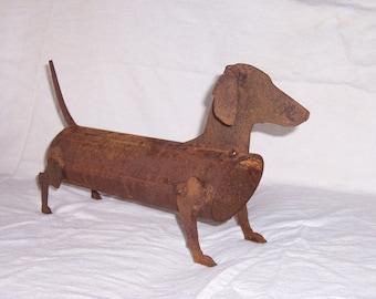 Metal Dachshund - Weiner Dog - Metal Garden Art - Dog Sculpture - Rustic Garden Art