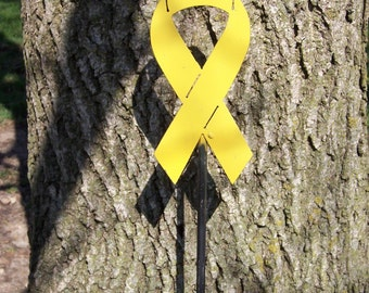 Yellow Ribbon Garden Stake, other colors and causes available