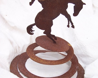 Cowboy and Bronco Metal Garden Sculpture, metal garden art, western metal art, yard art, metal yard art