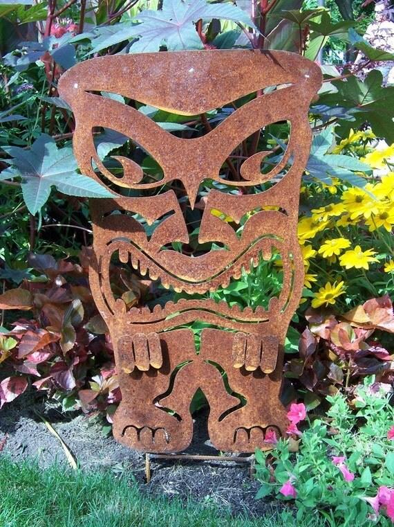 Tiki statue, metal tiki, outdoor tiki, metal garden art, metal yard art
