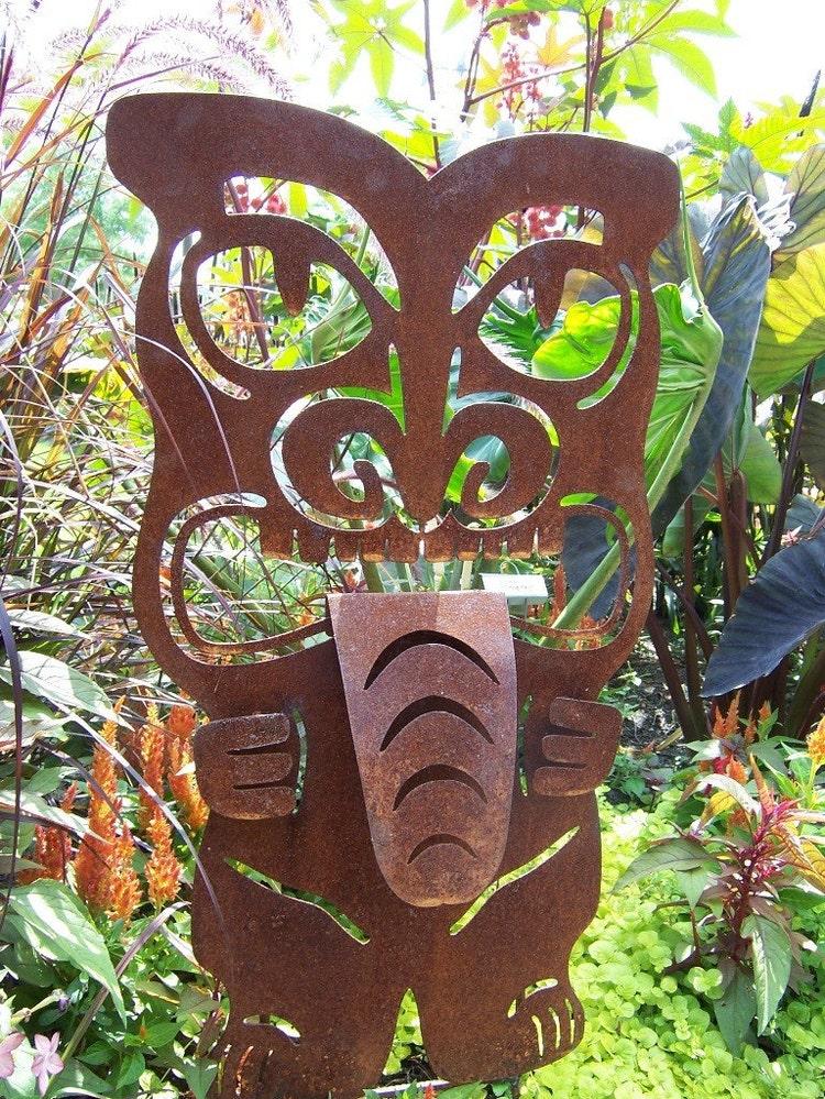 Tiki Statue Metal Tiki Outdoor Tiki Metal Garden By