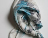 RESERVED FOR silviawan Vintage Pretty Blue Floral Scarf