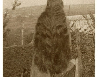 Back View of Long Hair Girl RPPC