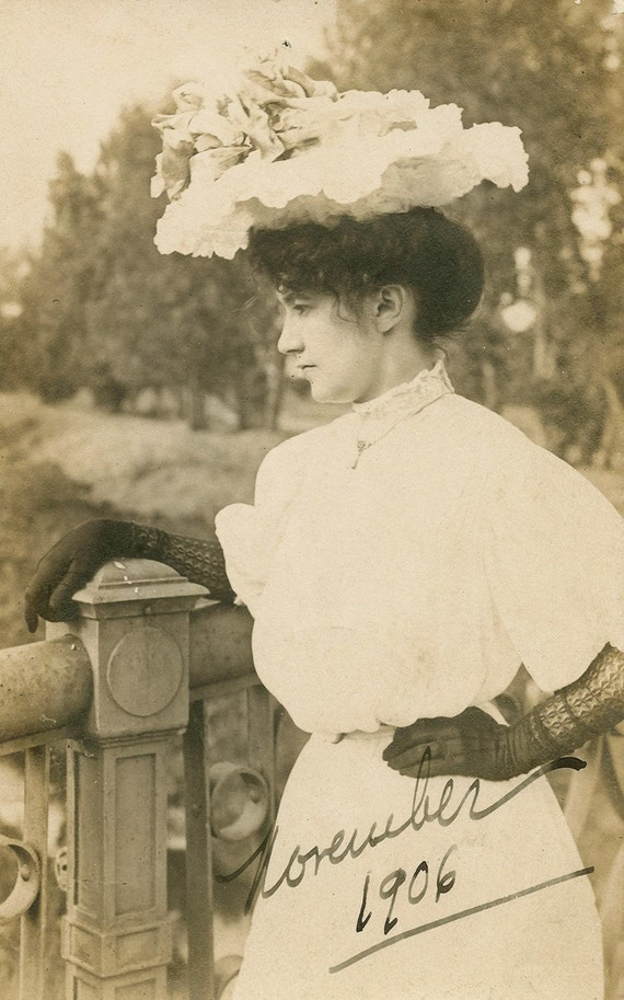 Edwardian Beauty Deep in Thought RPPC