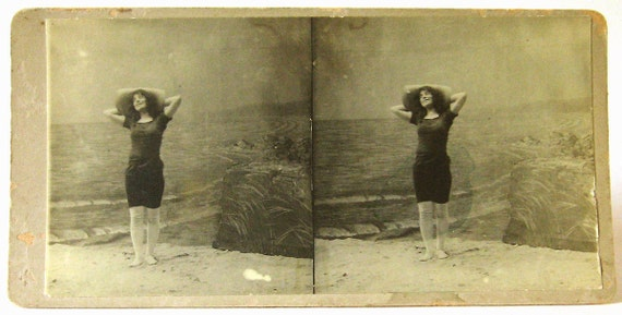 Risque Real Photo Stereoview Bathing Beauty in Large Hat at Beach