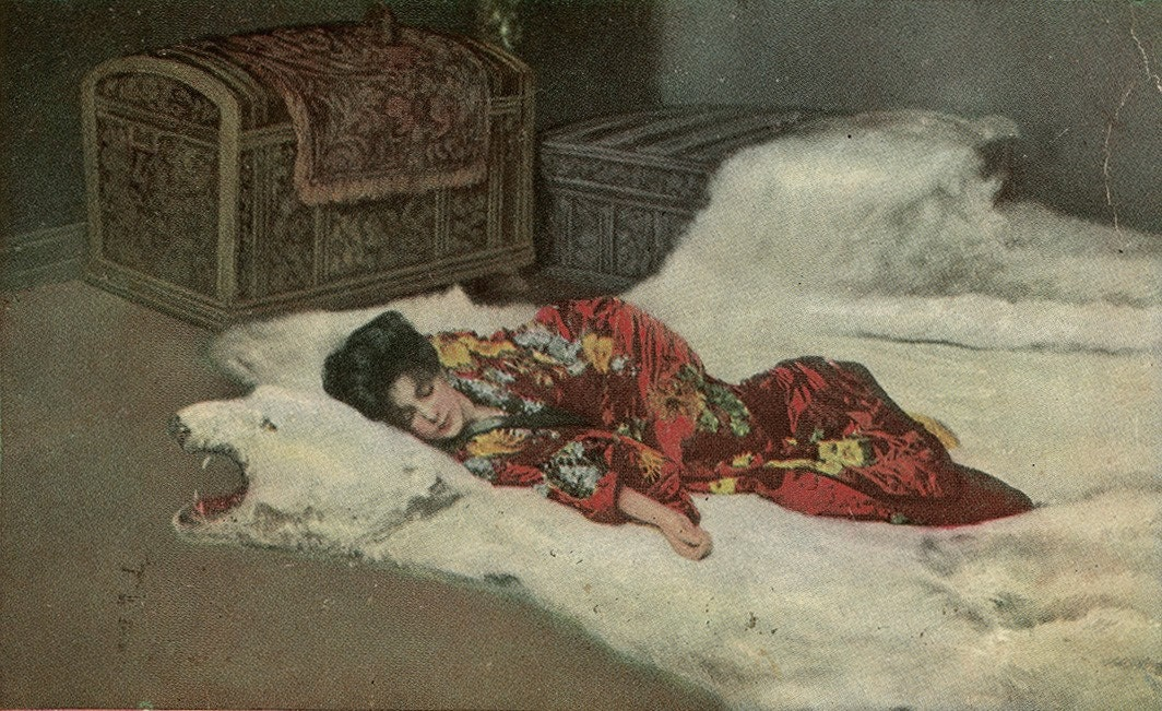 Evelyn Nesbit Madame Butterfly Asleep On Bear Skin Rug By