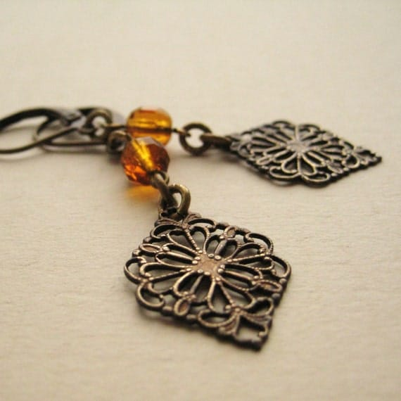 Reserved for Jennifer Smylie Rustic Antiqued Brass Filigree and Vintage Bead Earrings