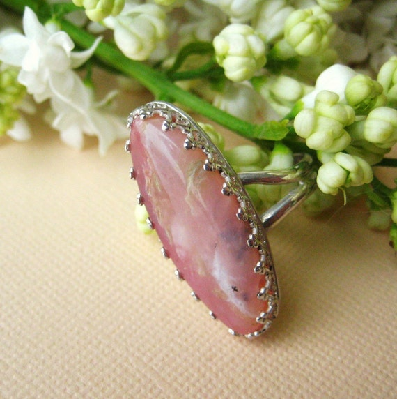 Delicate Handmade Ring of Pink Opal Gemstone and Sterling Silver