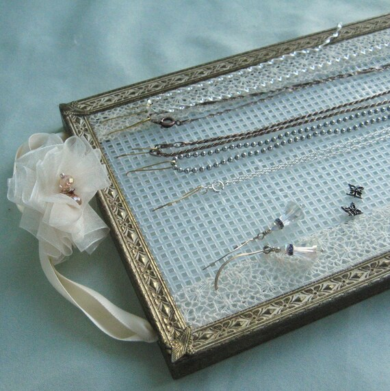 Vintage repurposed metal picture frame earring holder jewelry for Repurposed jewelry holder