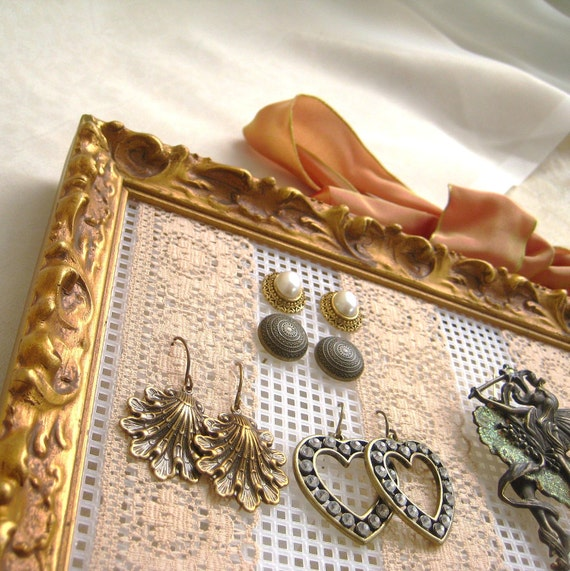 Elegant  Upcycled Wooden Picture Frame Earring Holder Jewelry Display Organizer
