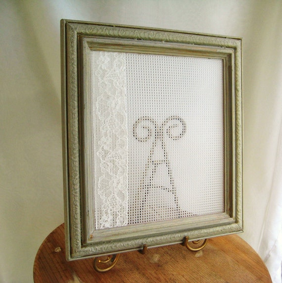Shabby Chic Neutral Upcycled Wooden Picture Frame Earring Holder Jewelry Display Organizer