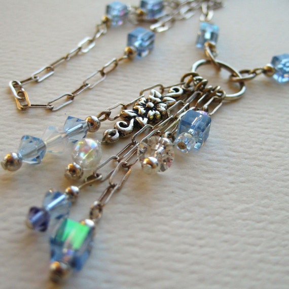Sterling Silver Crystal and Glass Beaded Necklace