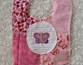 Slightly ImPerfect Multi Cotton Chenille Pink Girl with Butterfly Bib
