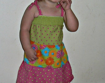 Green Smock Dots and Floral Sun Dress