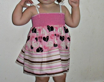 Smock Pink Hearts and Multi Strip SunDress or Top