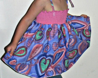 Smock Blue and Pink Hearts Sun Dress or Top