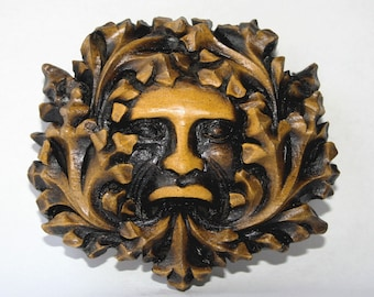 Green Man Medieval Gothic Reproduction Cathedral Carving.