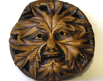 Green Man Gothic English Cathedral Carving Plaque