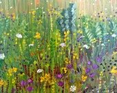 BUSY BEES oil painting landscape plein air ready to hang sides painted