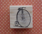 NEW Wood Mounted Rubber Stamp Penny Farthing Vintage Bicycle