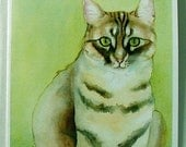 Round-Eyed Tabby Watercolor Notecard