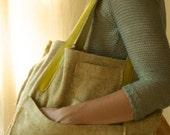 reused golden vintage tweed skirt tote