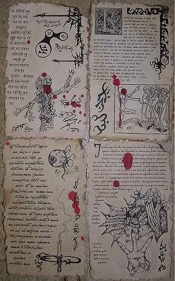 Necronomicon spellbook pages prop for cthulhu larp set no 6 for Portent of item protection